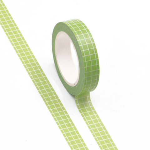 Washi Tape Green Grid 10mm
