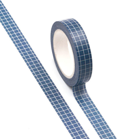 Washi Tape Navy Blue Grid 10mm