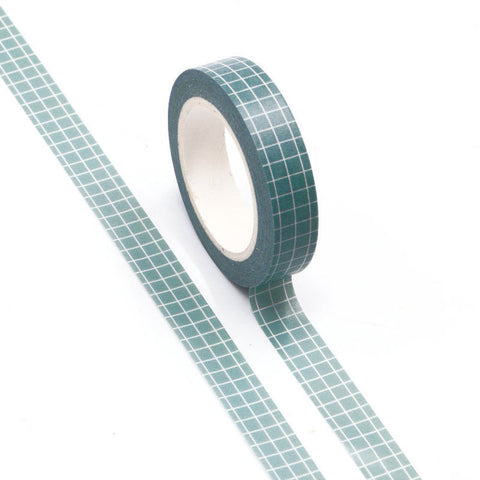 Washi Tape Blue/Grey Grid 10mm