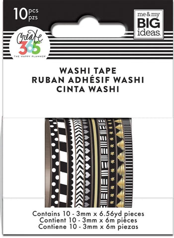 Washi Tape Set - Mini Washi - Black and White