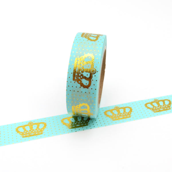 Aqua Washi Tape with Gold Crown