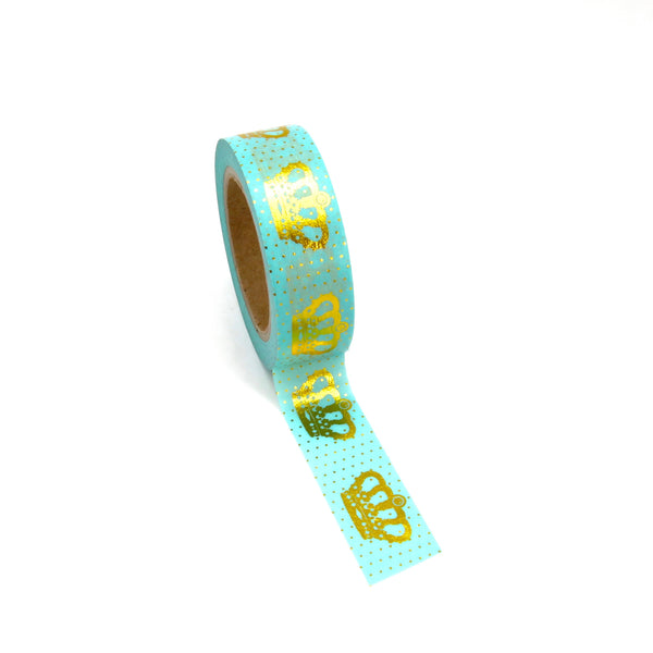 Gold Foil Crown Aqua Washi Tape