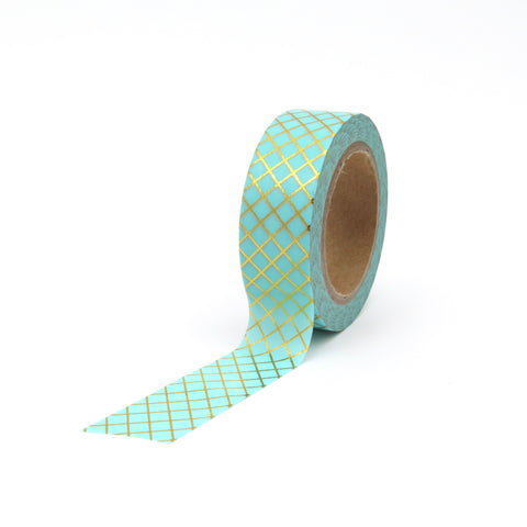 Washi Tape gold aqua grid