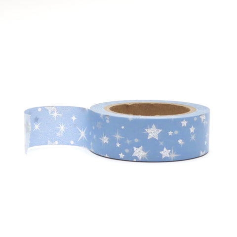 Washi Tape, Blue with Silver Foil Stars