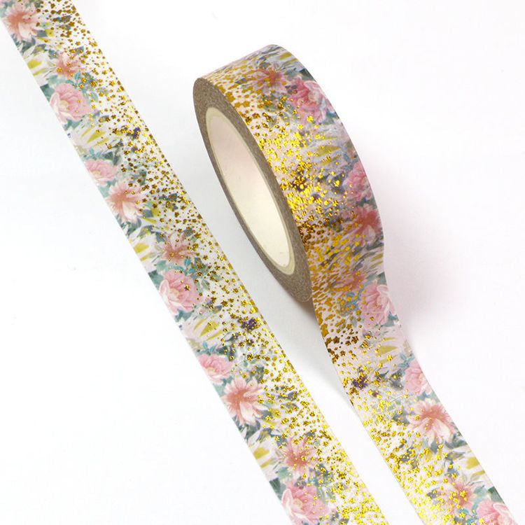 Floral Washi Tape, Graduated Gold Foil Blossoms