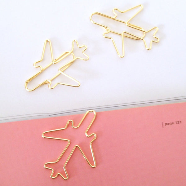 Gold Plane Paper Clips