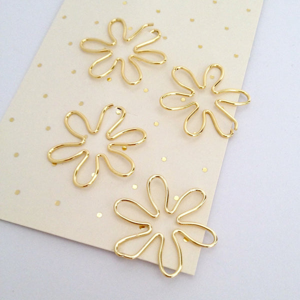 Gold Flower Planner Clips