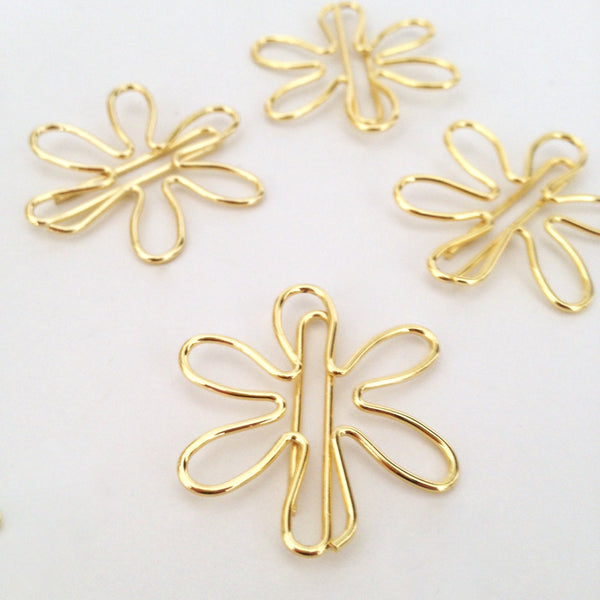 Paper Clips Gold Flowers