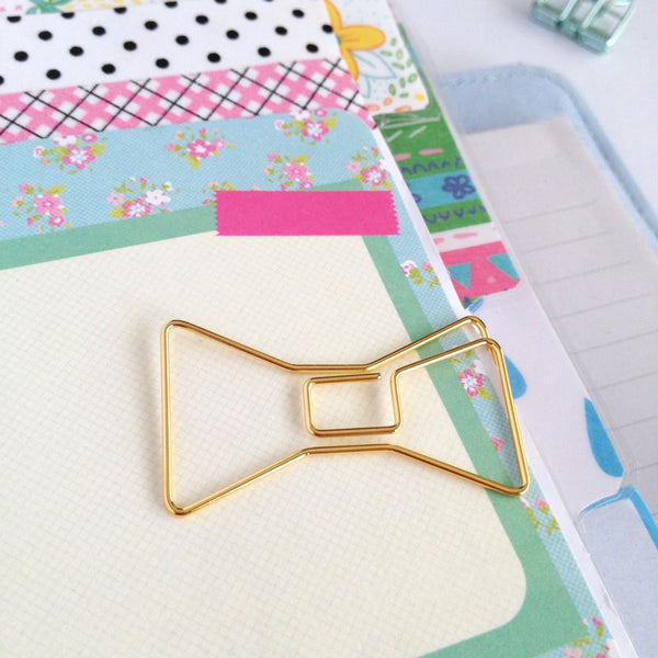 Gold Bow Planner Clips