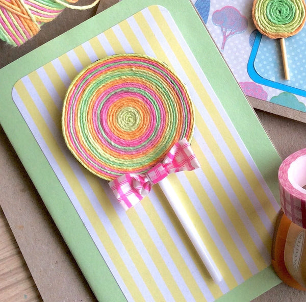 Twine Lollipop Card by Hobby Hoppers with Hemp Cord