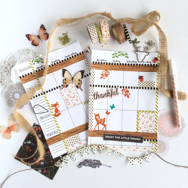 Woodland Forest Planner Spread using Stag Paper Clip