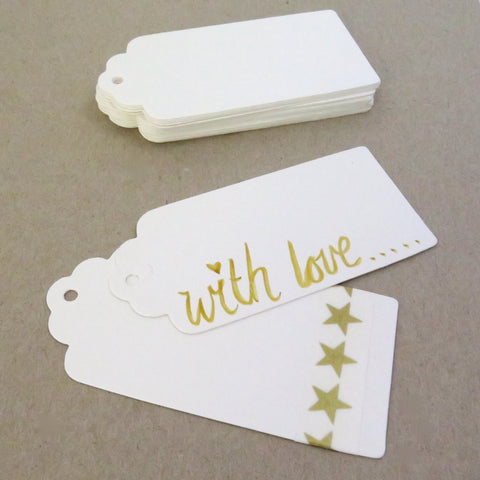 Craft Tags 20 White Blank Scalloped Gift Tags
