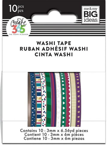 Washi Tape Set - Mini Washi - Jewel Tone