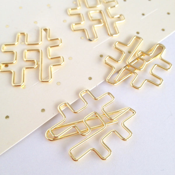 Gold Hashtag Clips