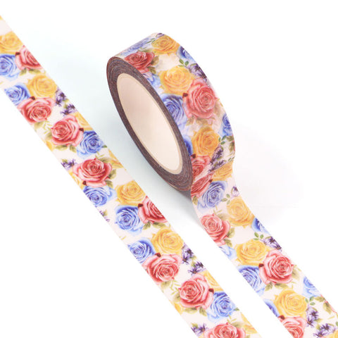 Floral Washi Tape, Primary Coloured Roses