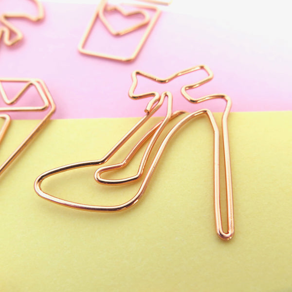 Planner Clips Stiletto Shoes Rose Gold
