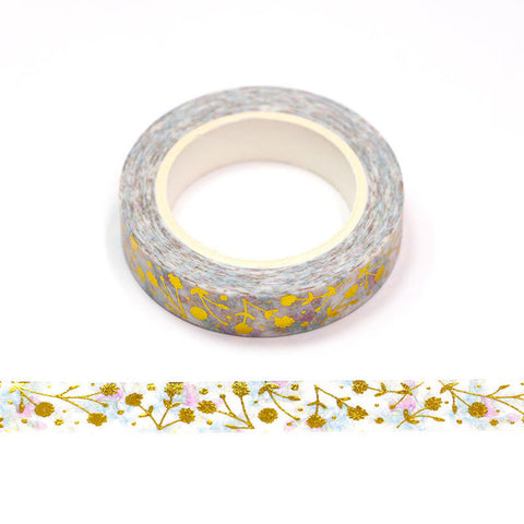 Slim Washi Tape, Gold Foil Floral