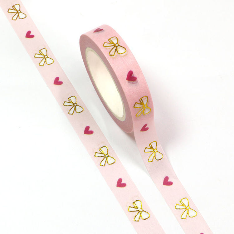 Slim Washi Tape, Gold Foil Bow with Hearts