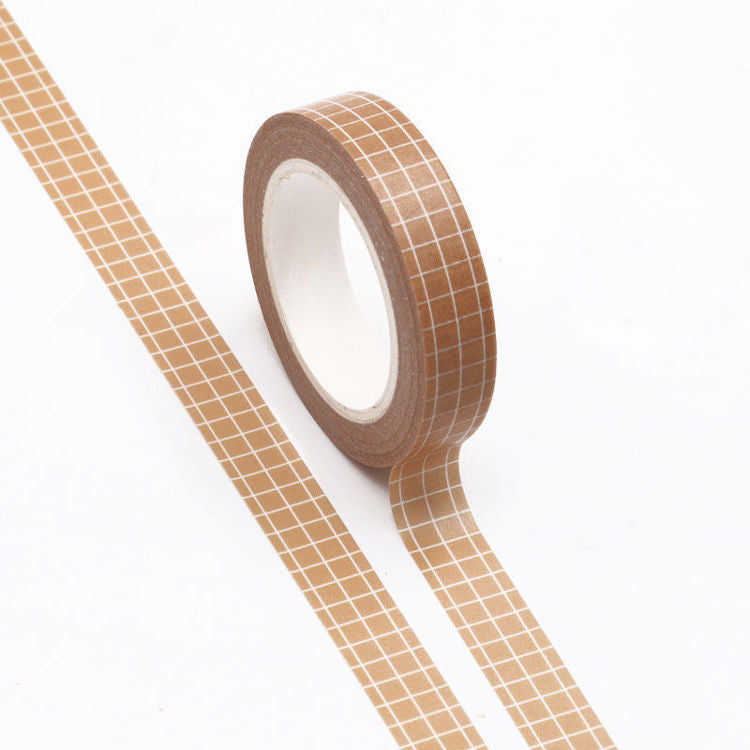 Washi Tape Tan Grid 10mm