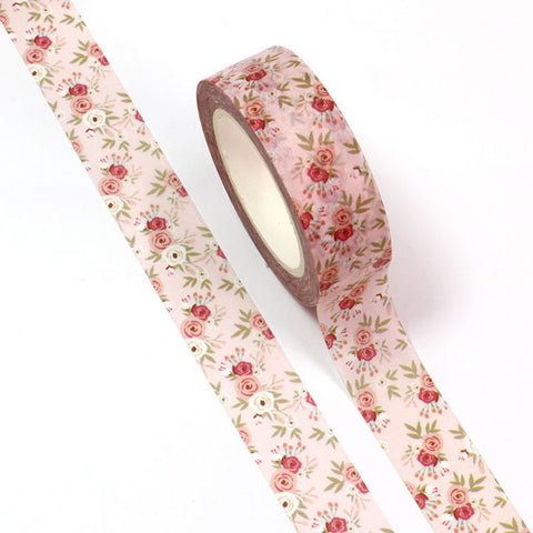 Floral Washi Tape, Pink Vintage Rose