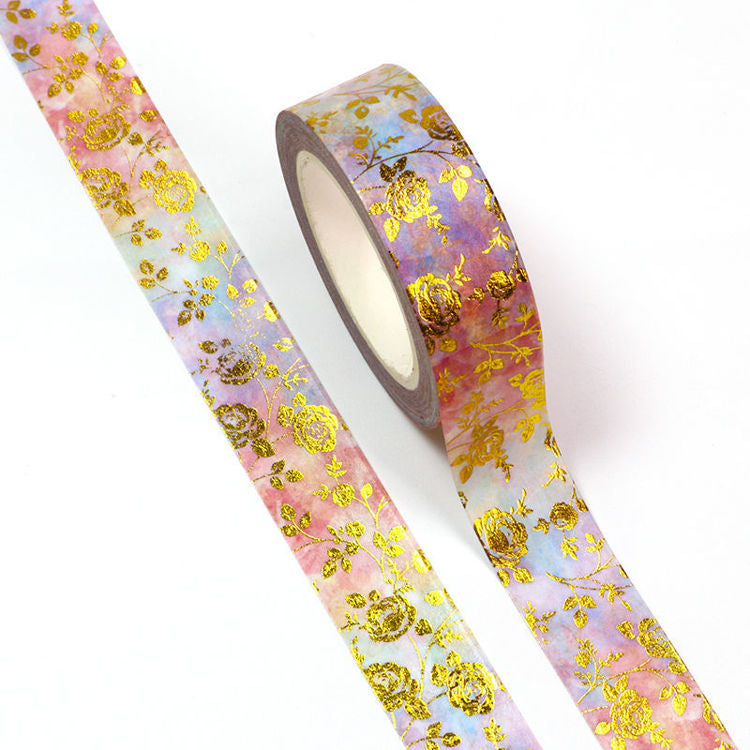 Floral Washi Tape, Gold Foil Roses