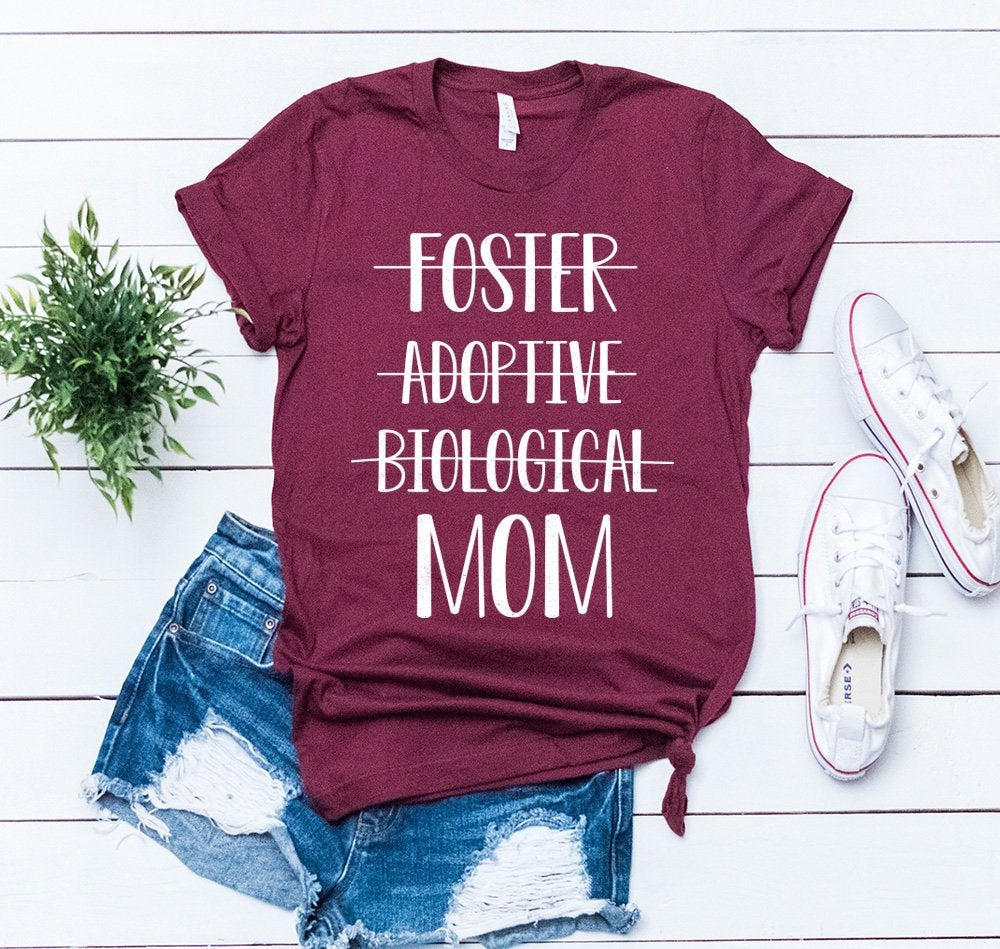 Women's Foster Mom Shirt. Adoptive Mom Shirts Biological Mother Tee Adoption Tshirt.