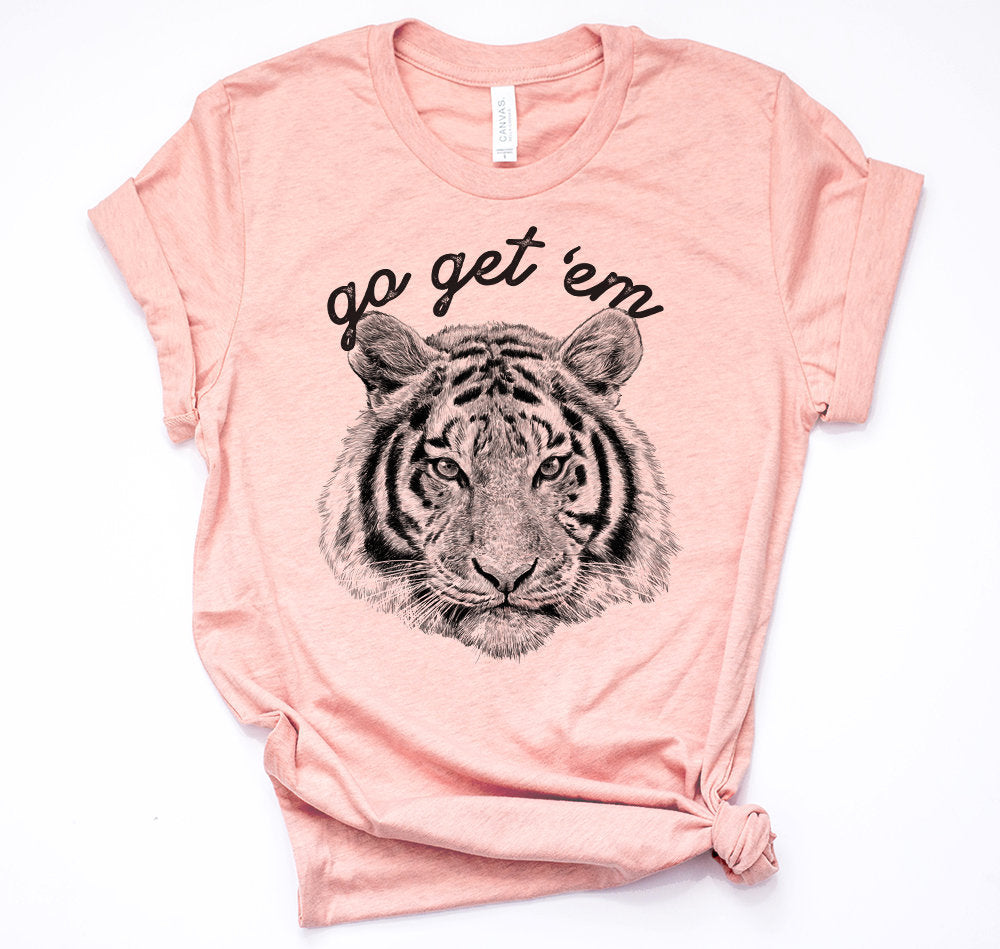 Womens go get 'em tiger cute trending shirt popular screen printed FREE SHIPPING gift for friends best friend game shirt