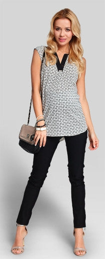 Black and white maternity top
