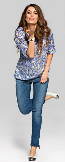 Blue Maternity Top