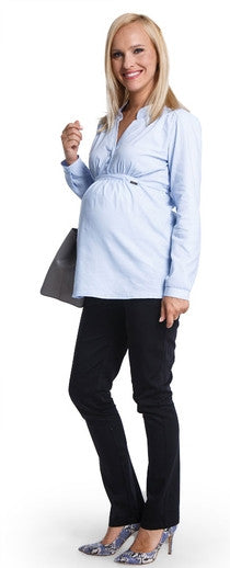 Blue maternity shirt