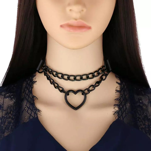 Double Black Heart Chained Choker
