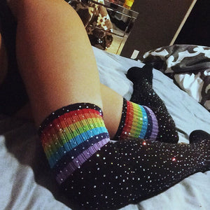 Rhinestone Socks (Black/Rainbow) - CHOKE ME HARDER