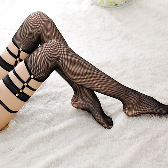 Gartered Fishnet Stockings - CHOKE ME HARDER