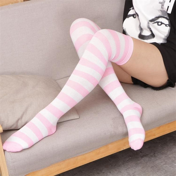 Pink & White Striped Socks