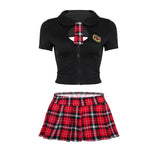 School Girl Set (Black/Red) - CHOKE ME HARDER
