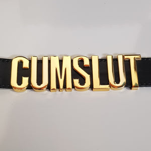 CUM SLUT Collar (Black/Gold) - CHOKE ME HARDER