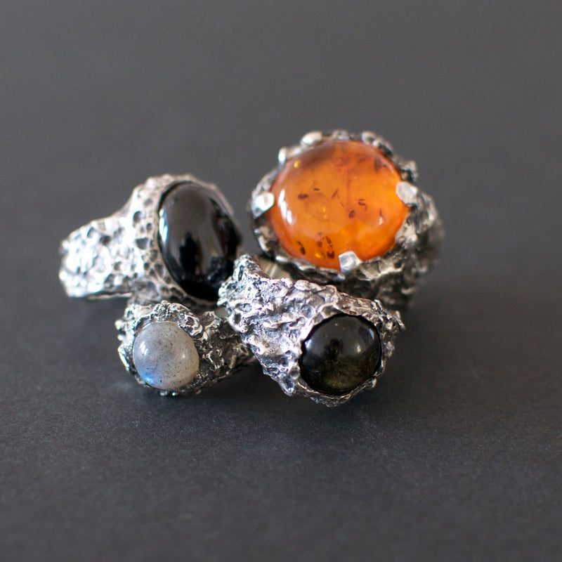 mens amber ring and onyx