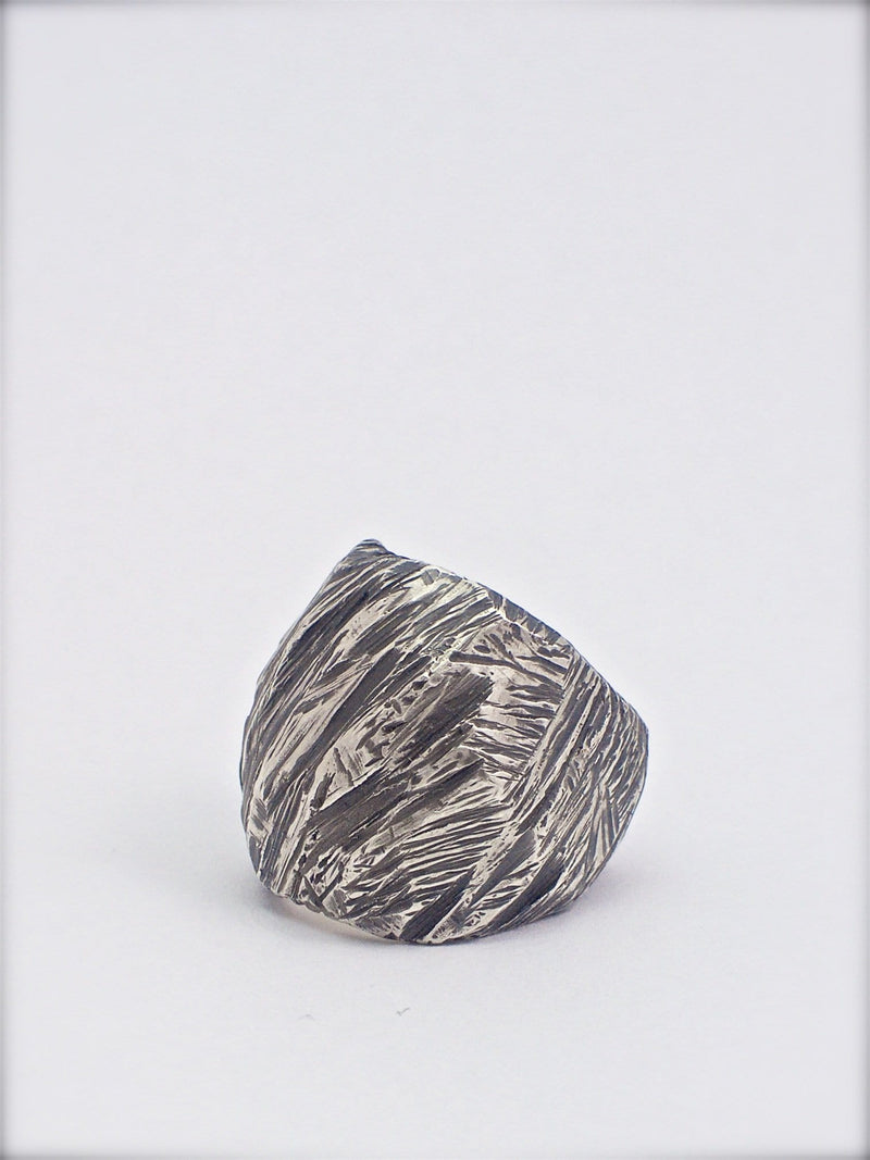 Men's ring Band carved oxid big. Side view left.