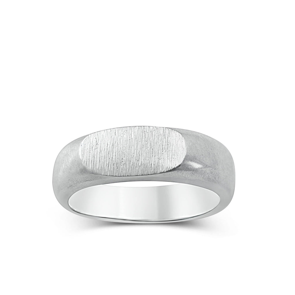Men's ring Signet rounded thin