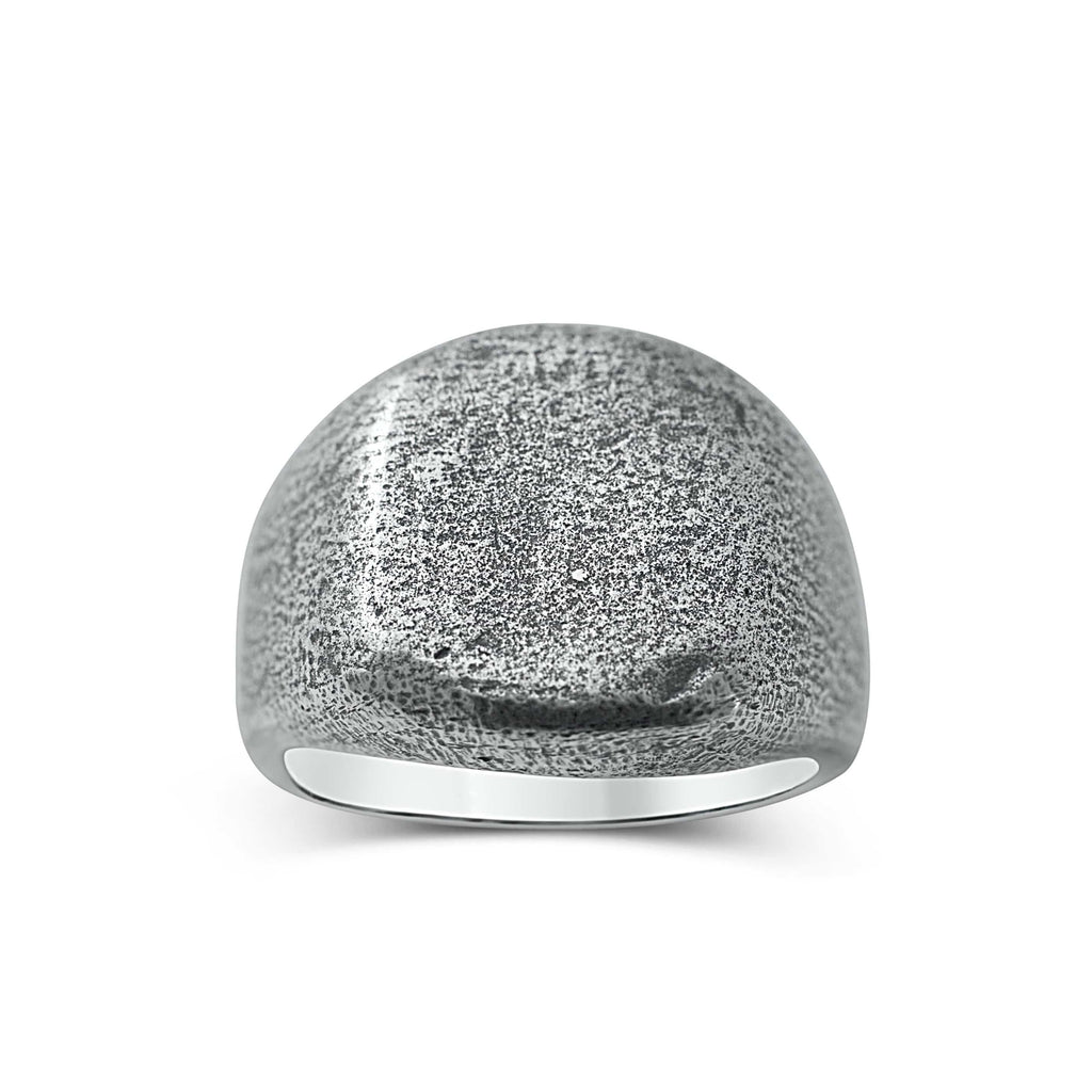 Men's ring Signet rounded oxid