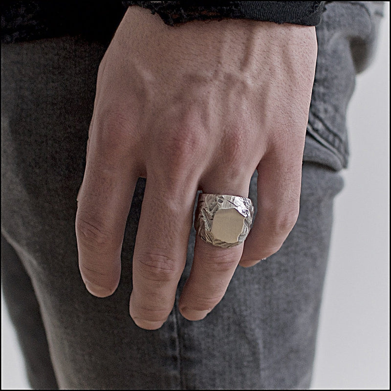 Men's ring Signet classic BRJ. Shown on male hand model.