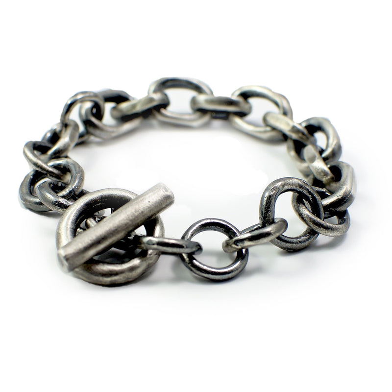 Men's bracelet Chain link. Back view left. Big chain model.