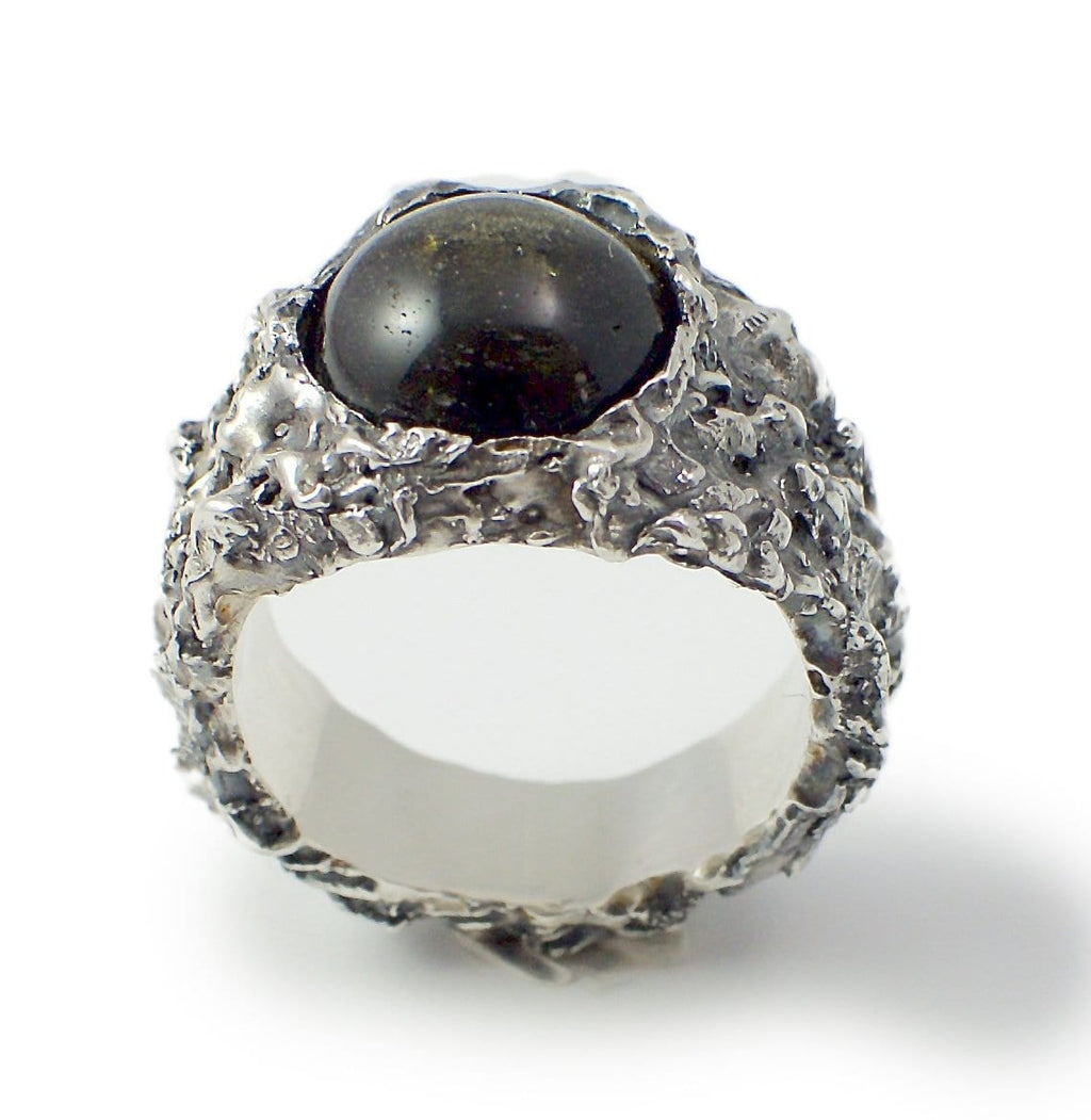Black Silver sheen Obsidian ring