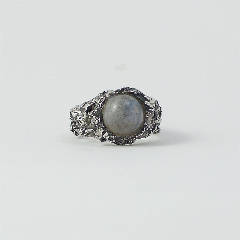 Men's ring Moon stone. Front view.