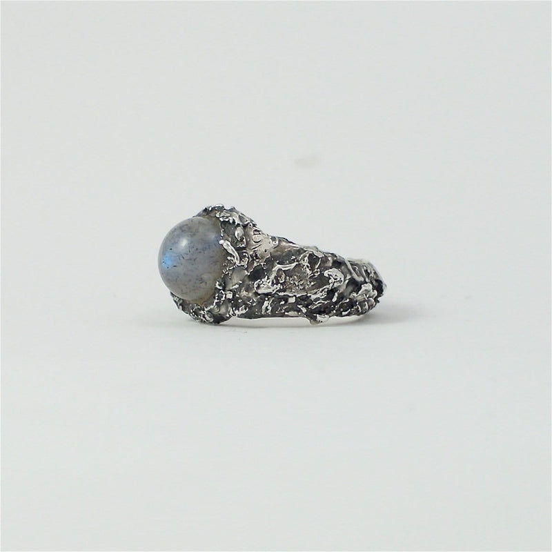 Men's ring Moon stone. Front view left.