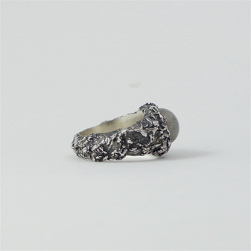 Men's ring Moon stone. Side view right.