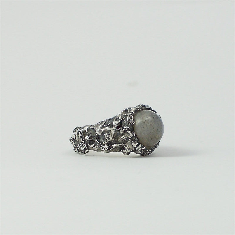 Men's ring Moon stone. Front view right.