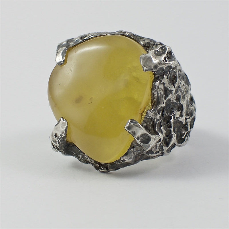 Men's ring Baltic amber yellow. Front view.