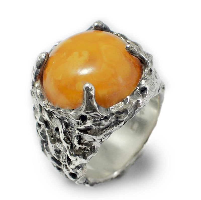 Men´s ring Baltic amber natural caramel