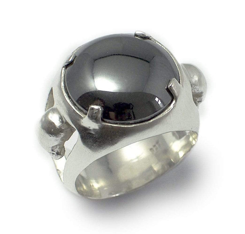 Men´s signet ring Hematite stone with skull